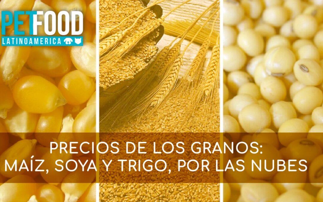 Precios de los granos: maíz, soya y trigo, por las nubes